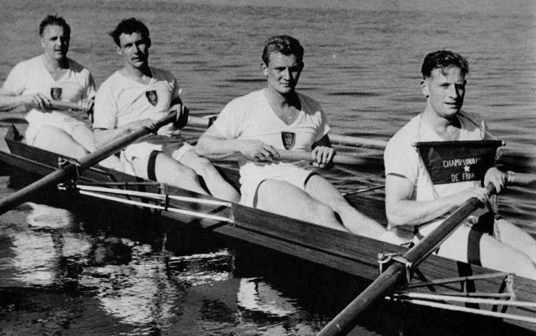 L'équipe de France en 1952 (de g. à d.) Roger Gautier, Marc Buissou, Jean-Jacques Guissart et Pierre Blondiaux